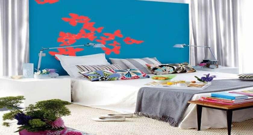 Blue Gray Bedroom Red White