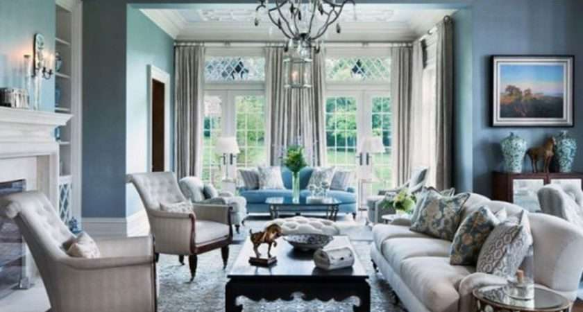 Blue Gray Walls Living Room Peenmedia