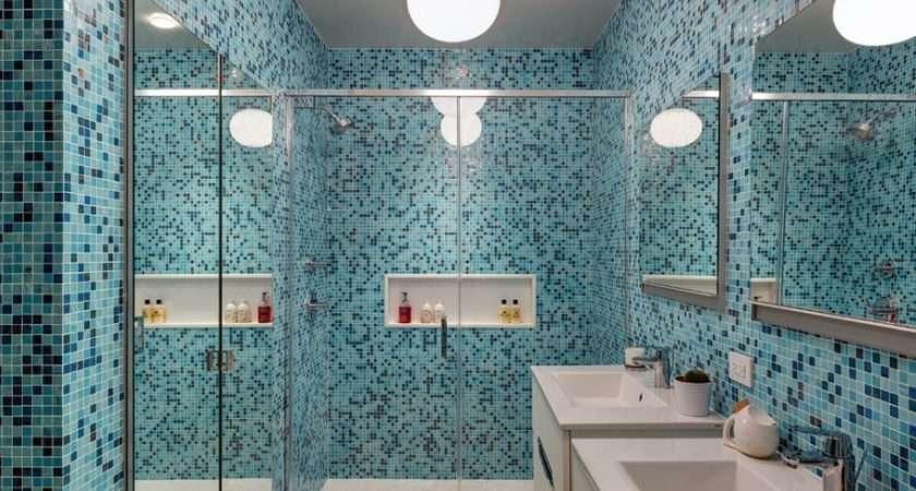 Blue Mosaic Bathroom Tile Shower