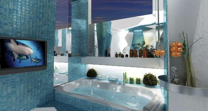Blue Mosaic Bathroom Tiles Interior Design Ideas
