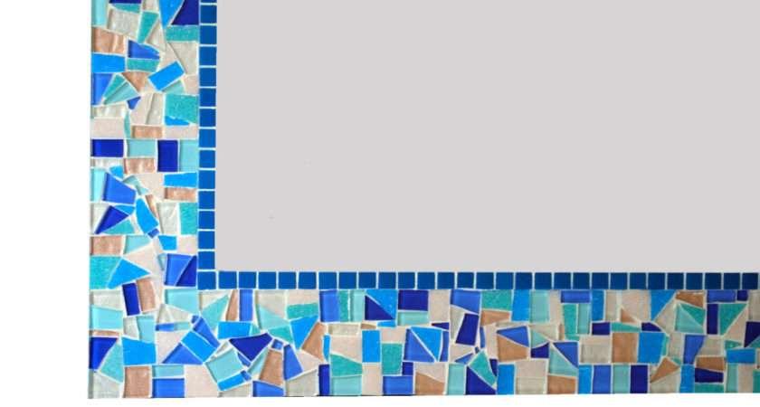 Blue Mosaic Mirror Bathroom Decor Greenstreetmosaics
