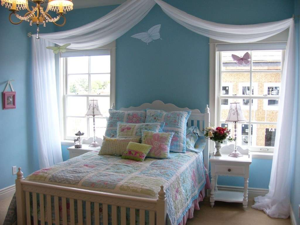 Blue Ornament Bedroom Ideas Teenage Girls