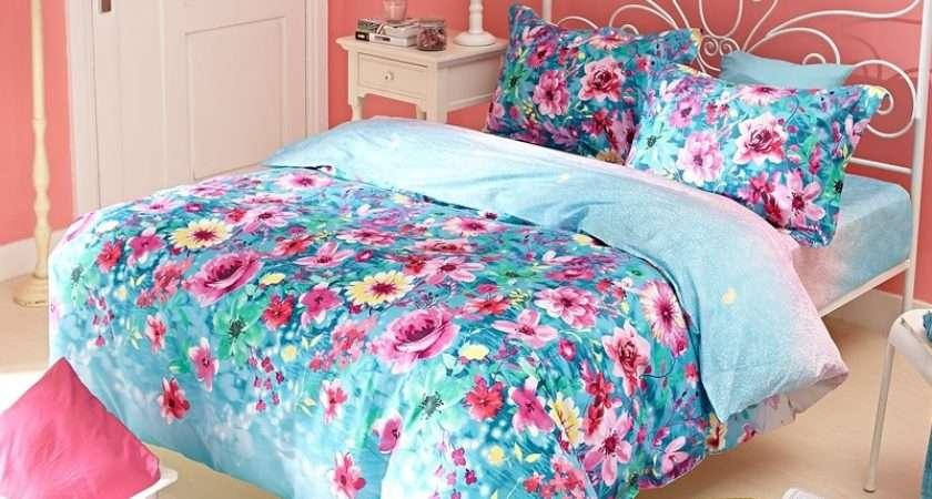Blue Pink Floral Bedding Bedroom