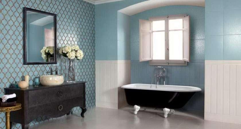 Blue Tile White Bathroom Floor