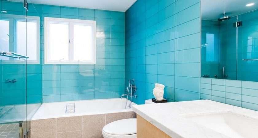 Blue Tiles Bathroom Minimalist Decor