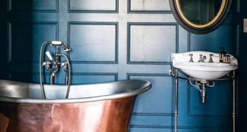 Blue Traditional Bathroom Copper Roll Top Bath