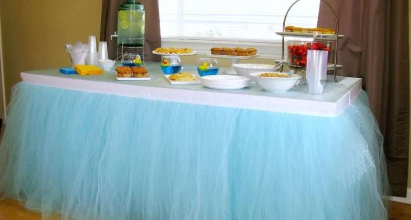 Blue Tulle Table Skirt Tutu Tableskirt Wedding Birthday