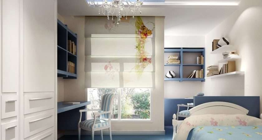 Blue White Bedroom Design Student House