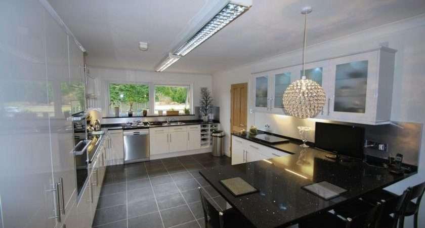 Blue White Kitchen Breakfast Bar Lighting Cabinets
