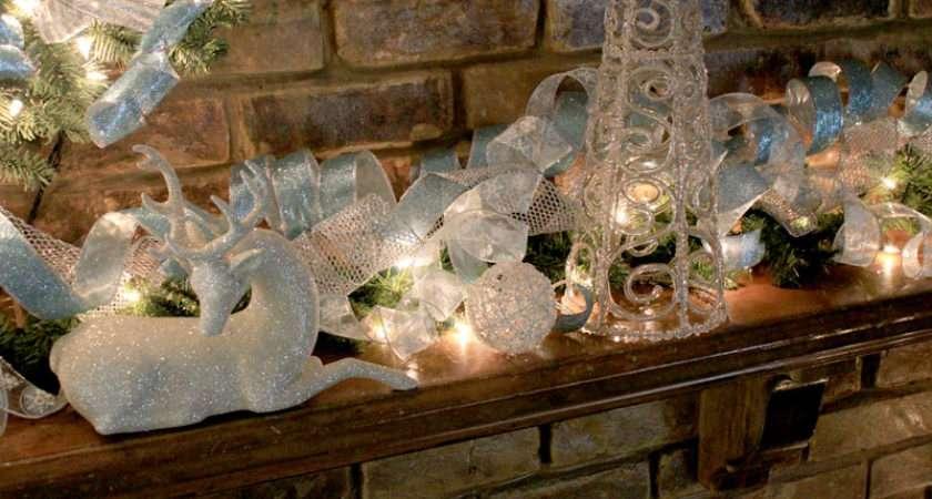 Blue White Mantel Christmas Pinterest