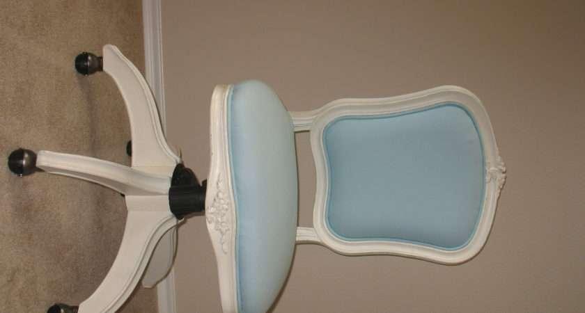 Blue White Wooden Teen Desk Chair Wheels
