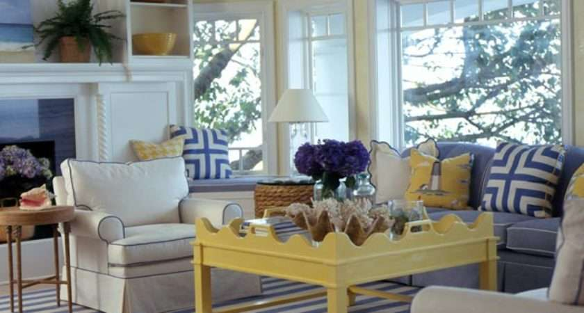 Blue Yellow Living Room Decor Grasscloth