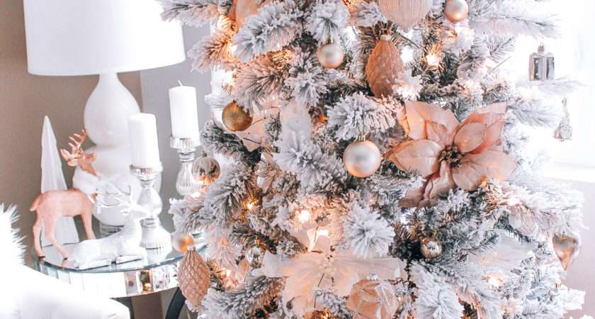 Blush Pink Rose Gold White Christmas Decor
