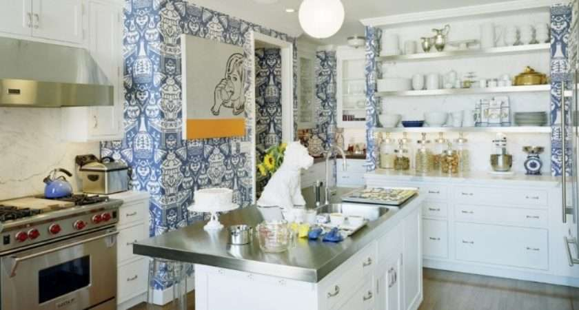 Bolder Daring Why Not Try Wallpapering Your Kitchen Walls