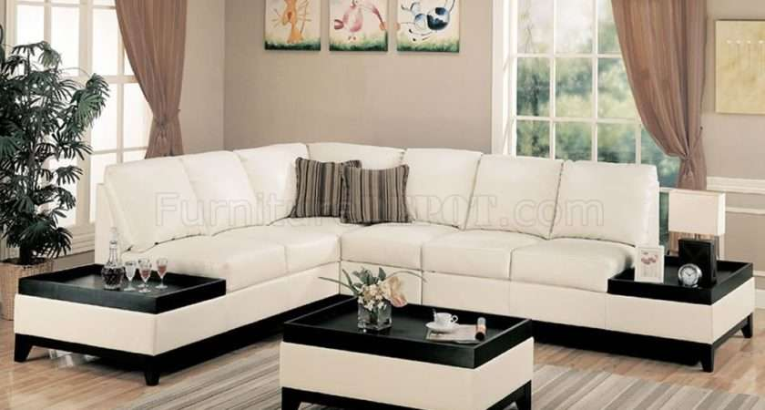 Bonded Leather Modern Sectional Sofa Side Tables Crss