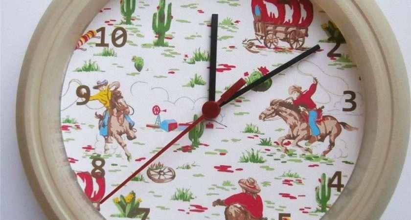 Brand New Kids Wall Clock Cath Kidston Cowboy Ebay