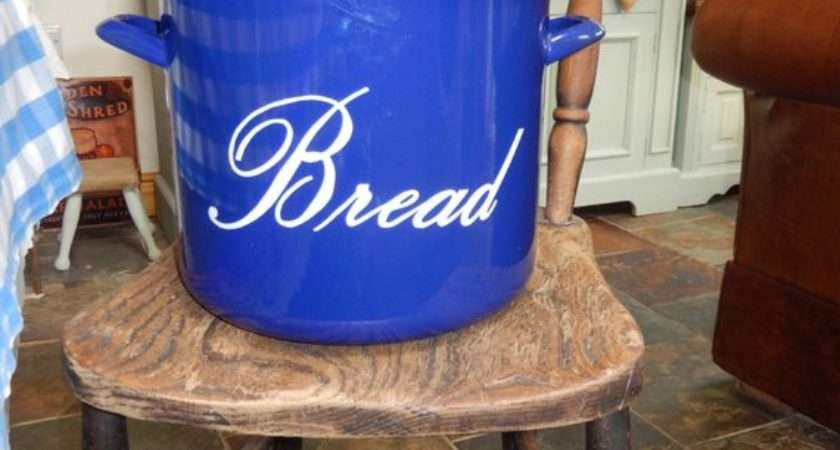 Bread Bin Cobalt Blue Enamel Retro Bred Vintage