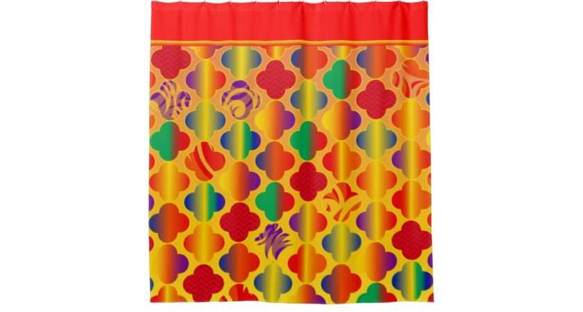 Bright Girly Funky Fun Patterns Shower Curtain Zazzle