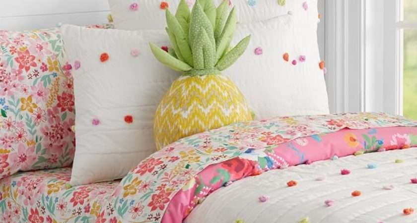 Bright Pom Quilted Bedding Pottery Barn Kids