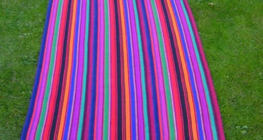 Bright Striped Rug Carpet Mat Colourful Hand Woven Kilim
