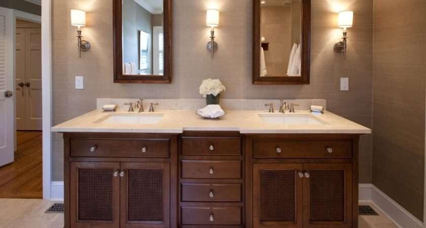 British Colonial Bathroom Master Vanity Grasscloth