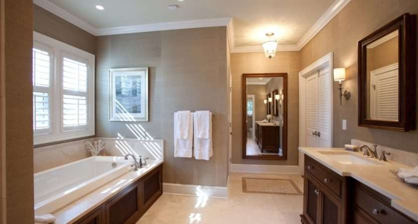 British Colonial Style Bathroom Master Grasscloth