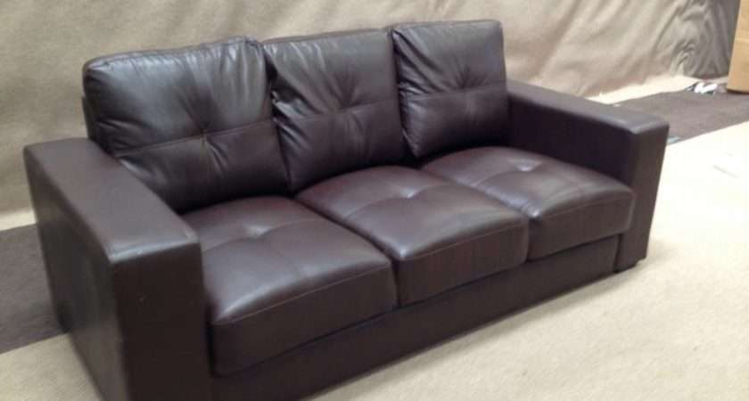 Brown Bonded Leather Seater Sofa New But Needs Looking After