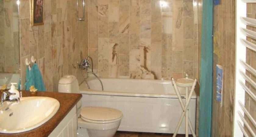 Brown Ceramic Tile Bathroom