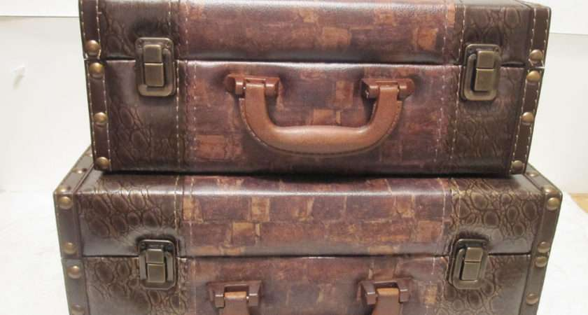 Brown Faux Leather Wood Suitcase Storage Box Set Ebay