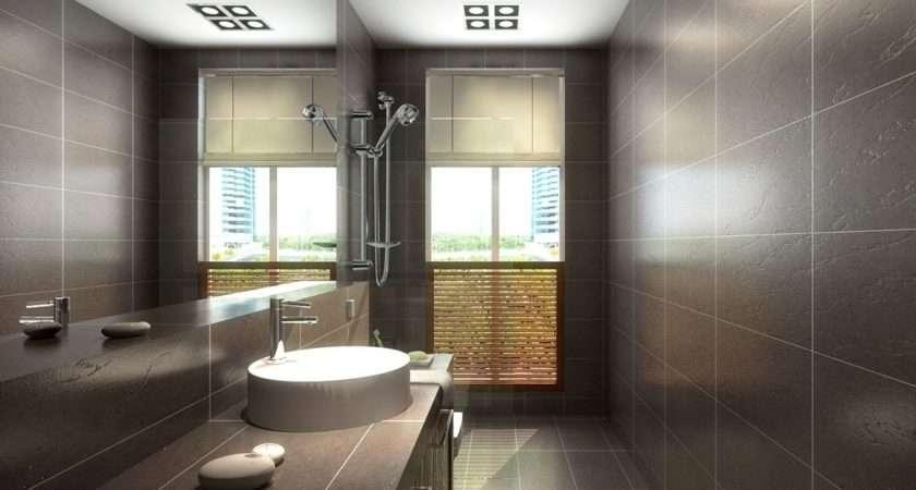 Brown Floor Tile Bathroom Grey