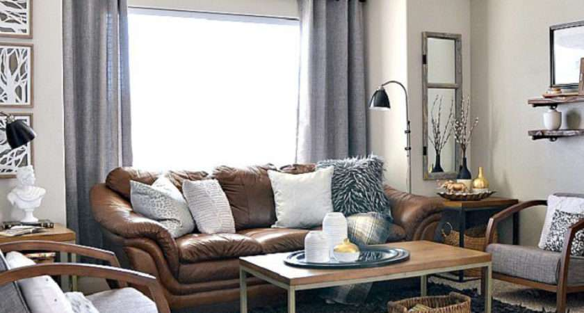 Brown Leather Couch Grey Rug Area Ideas