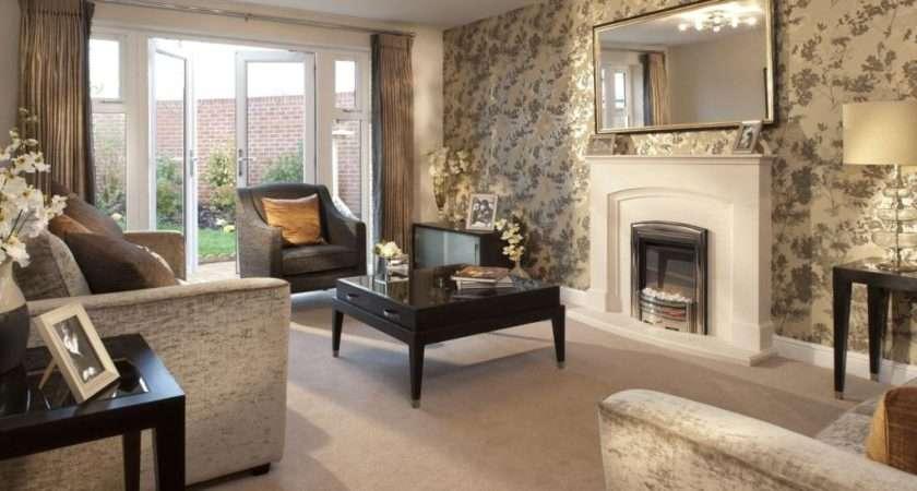 Brown Living Room Lounge Mirror Fireplace Nice Deco