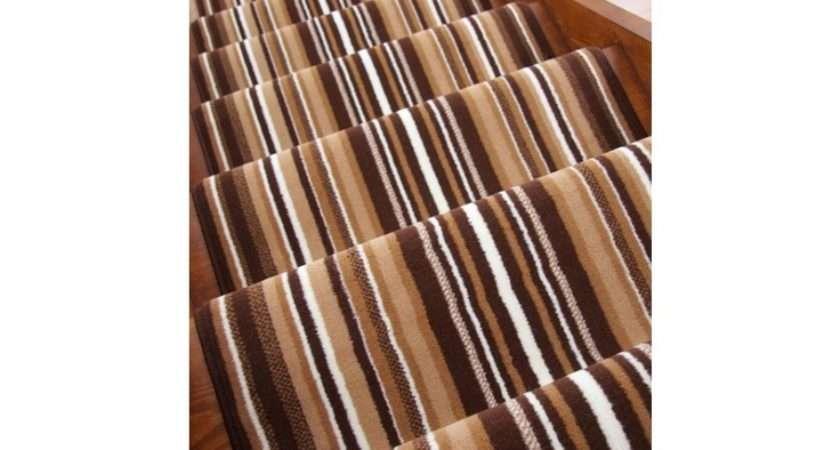 Brown Striped Stair Carpet Runner Wide