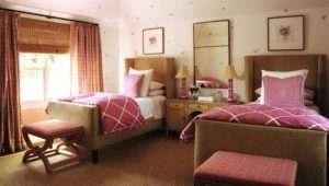 Brown Teen Girl Bedroom Design Light Linen Wingback Twin