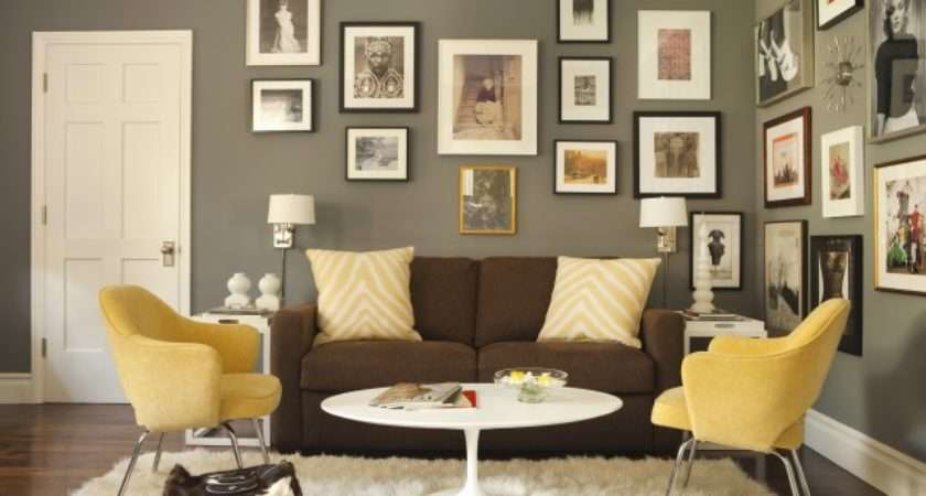 Brown Yellow Living Room Contemporary