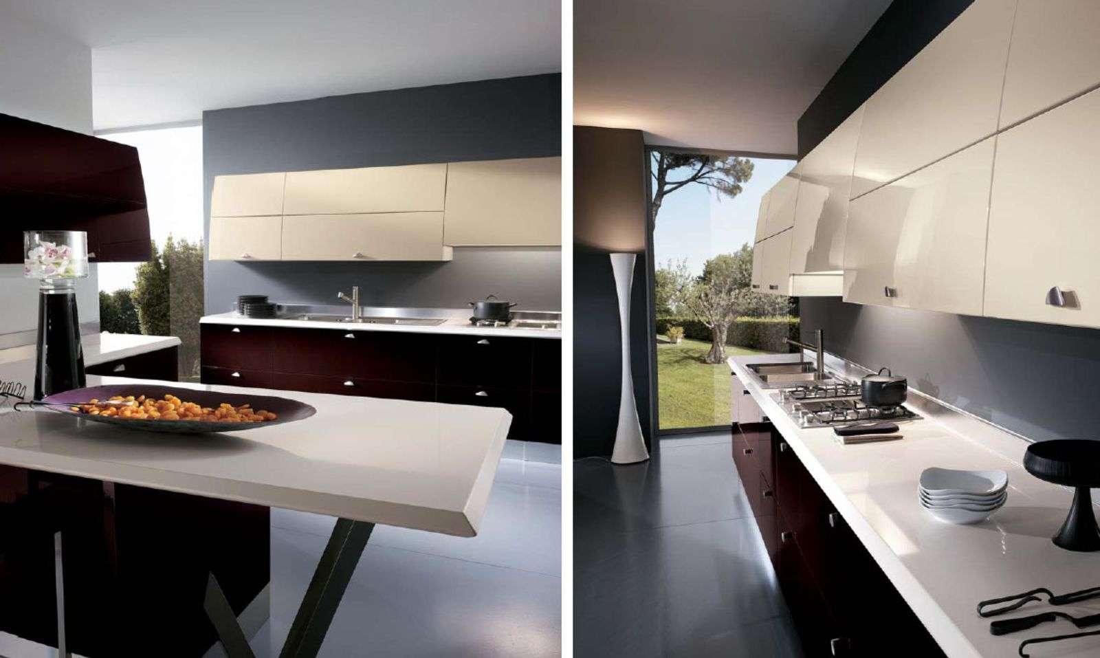 Browse Dark Kitchen Island Glass Wall Luxurious Italian Design