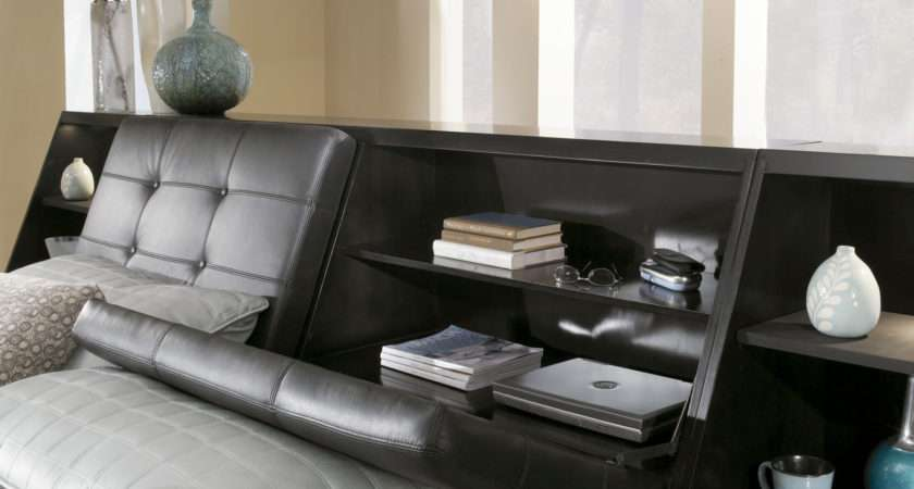 Broyhill Perspectives Leather Bedroom Set Graphite Lsb