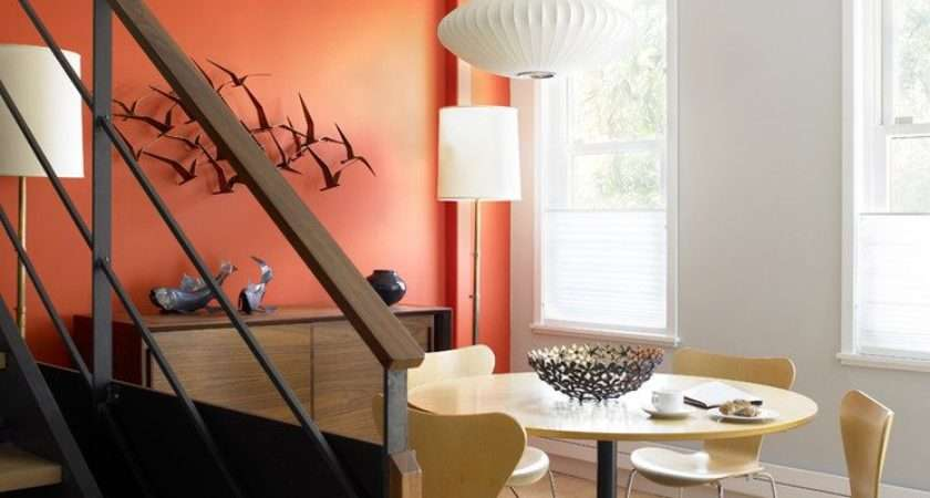 Burnt Orange Accent Wall Living Room Contemporary