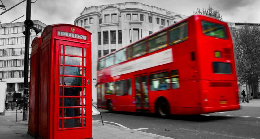 Bus London England Red Phone Street Cities