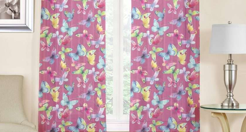 Butterfly Piece Printed Voile Sheer Rod Pocket Panel