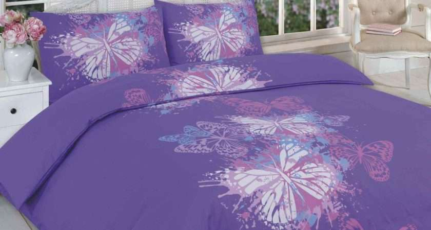 Butterfly Printed Duvet Quilt Cover Bedding Set Purple