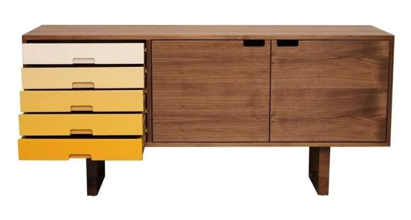 Buy Fusion Living Scandi Style Walnut Yellow Sideboard