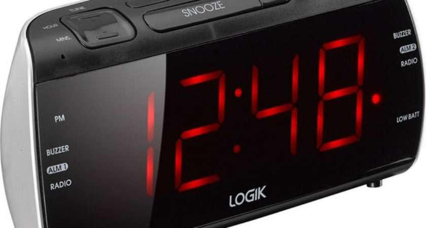 Buy Logik Lcrb Analogue Clock Radio Black Silver