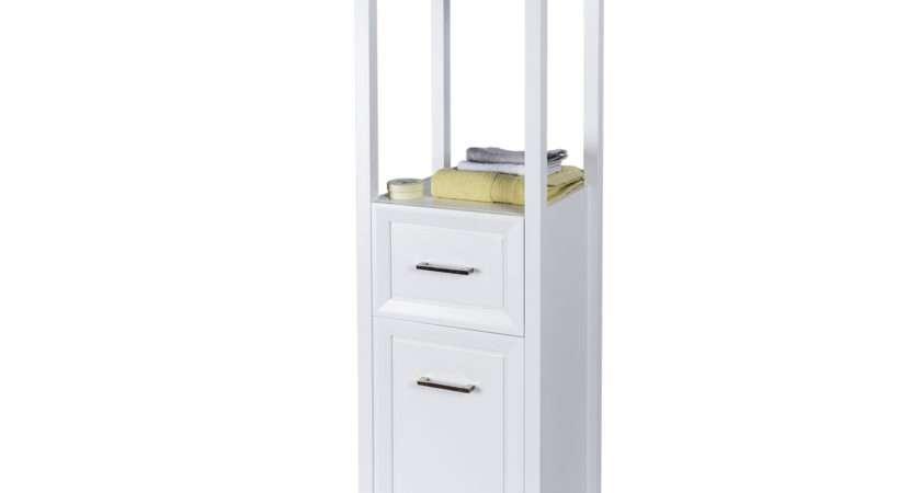 Buy Matte White Stretton Bathroom Tallboy Cabinet