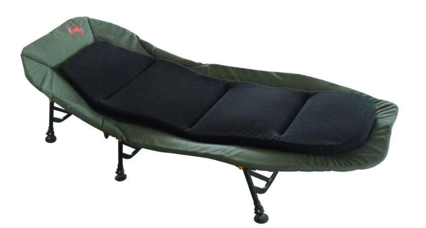 Camping Bed Chair Bedchair Adjustable Legs Inner Cushion Dark Green