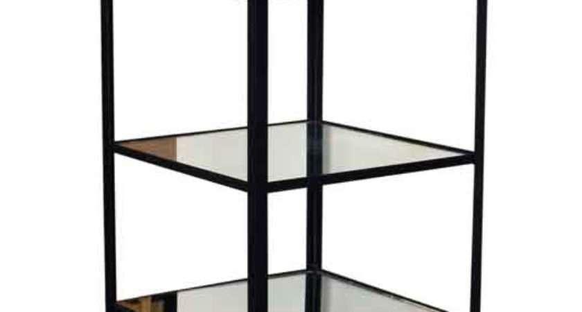 Cast Iron Display Unit Distressed Glass Shelves