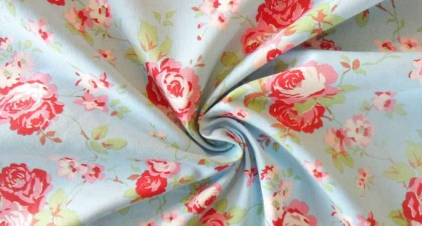 Cath Kidston Fabric Antique Blue Floral Roses Metre Cotton