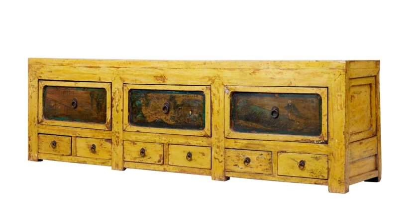 Century Chinese Yellow Lacquered Low Sideboard
