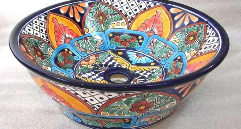 Ceramic Bathroom Sink Vessel Top Counter Colored Folk Art Ebay