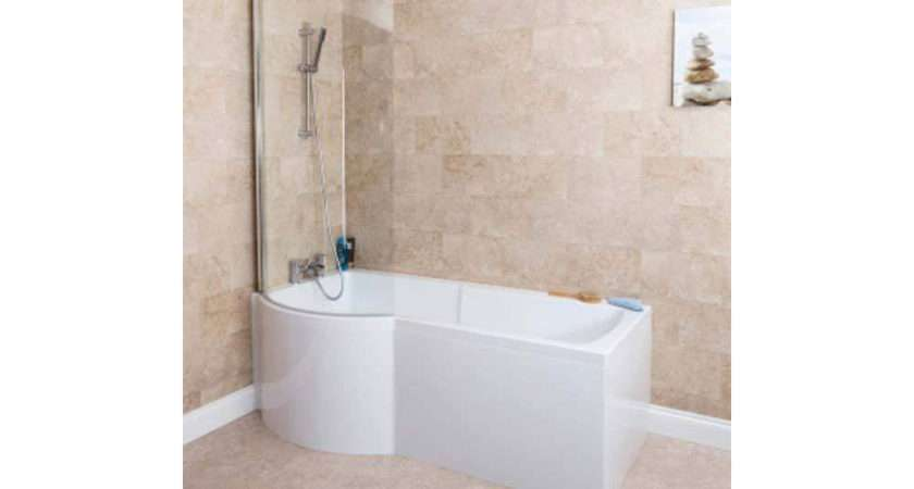 Ceramica Shaped Shower Bath Left Hand Ith Screen